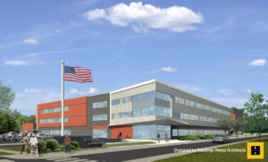 Architectural rendering of Cramer Hill Elementary School in Camden, New Jersey designed by Blackney Hayes Architects.