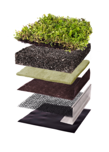 Three dimensional image of layers that create the StormCap green roof system